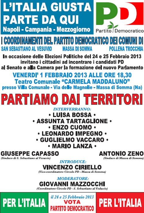 """A Massa di Somma Venerdì 1 Febbraio """"L'Italia giusta parte da qui!"""", confronto pubblico coi candidati Pd al Parlamento"""