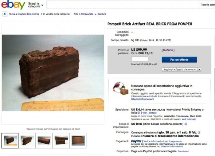 """Messo in vendita su ebay un mattone proveniente """"dall'antica Pompei"""""""