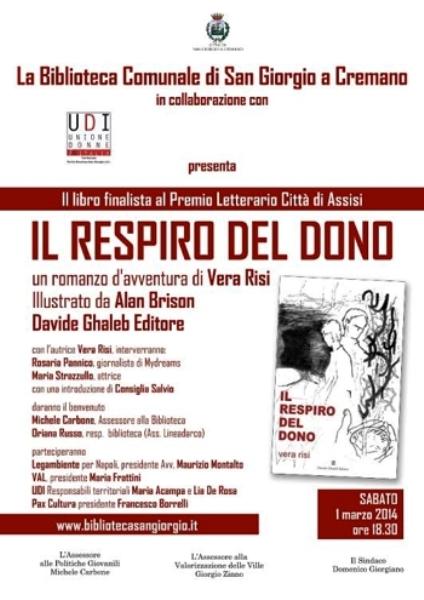 """San Giorgio a Cremano.Sabato in biblioteca la presentazione del volume  """"Il respiro del dono"""" di Vera Risi"""