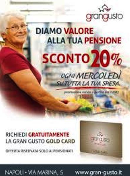 Il mercoledì dei pensionati. Grangusto lancia la carta spesa per i pensionati: 20% di sconto tutti i mercoledì