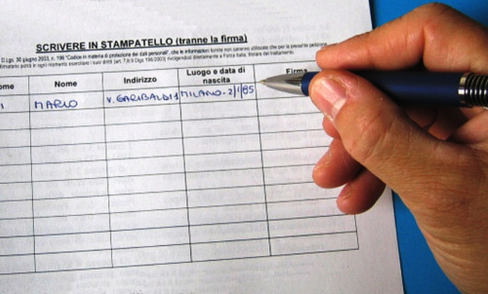 Inizio campagna raccolta firme. Presentazione lista per il parlamento europeo