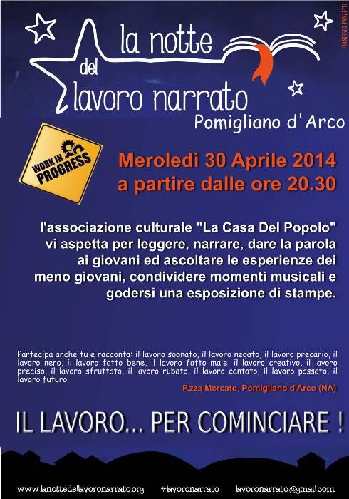 """Pomigliano d'Arco partecipa alla """"Notte del lavoro Narrato"""". Appuntamento per il 30 aprile"""