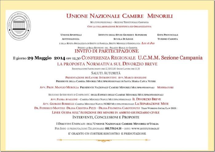 Divorzio breve: convocata a Caserta la Conferenza Regionale UCMM Sez.Campania