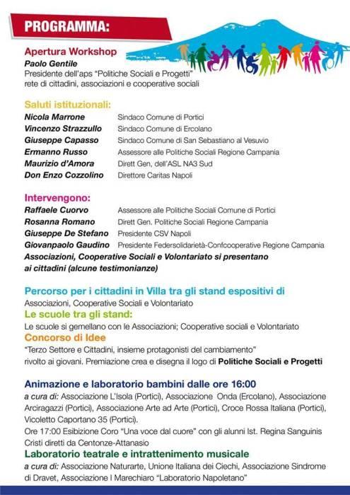 Terzo Settore e Cittadini in festa: il 7 giugno ore 16-20 evento a Portici