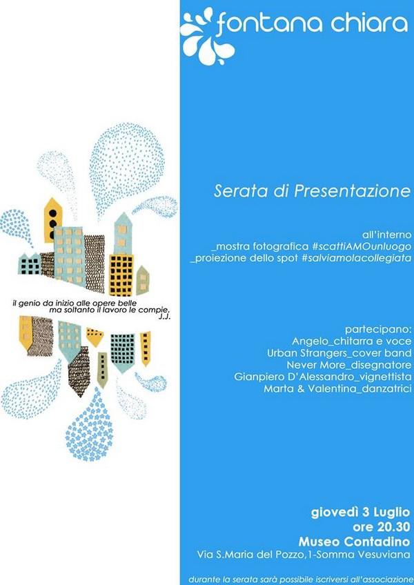 Somma Vesuviana, giovedì la presentazione dell'associazione Fontana chiara