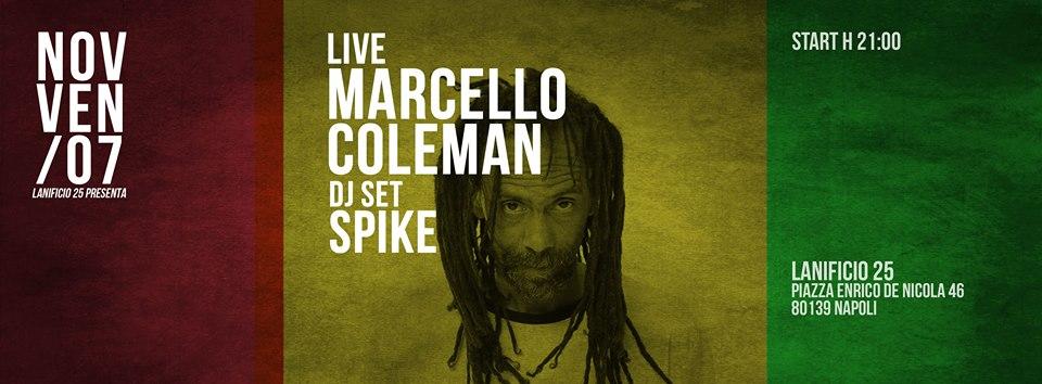 7 novembre: Il reggae di Marcello Coleman al Lanificio 25 di Napoli