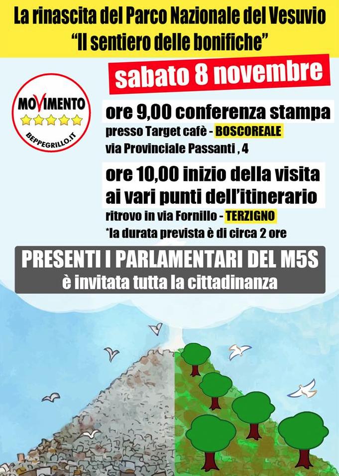 """Stop al """"biocidio vesuviano"""". Parlamentari e attivisti del Movimento 5 Stelle propongono un piano per """"La Rinascita del Parco Nazionale del Vesuvio""""."""