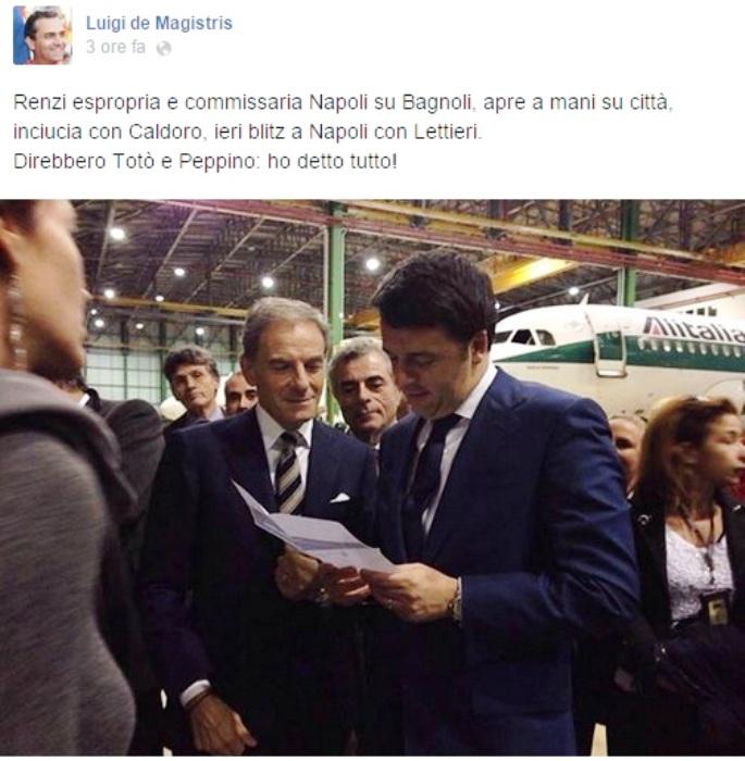 """Luigi de Magistris irritato per l'incontro tra Renzi e Lettieri: """"Il premier Renzi dice bugie ed è inaffidabile"""""""