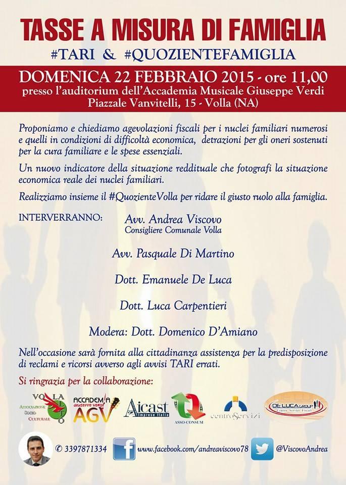 """Domenica 22: """"Tasse a misura di famiglia"""", la manifestazione organizzata dal consigliere Viscovo"""