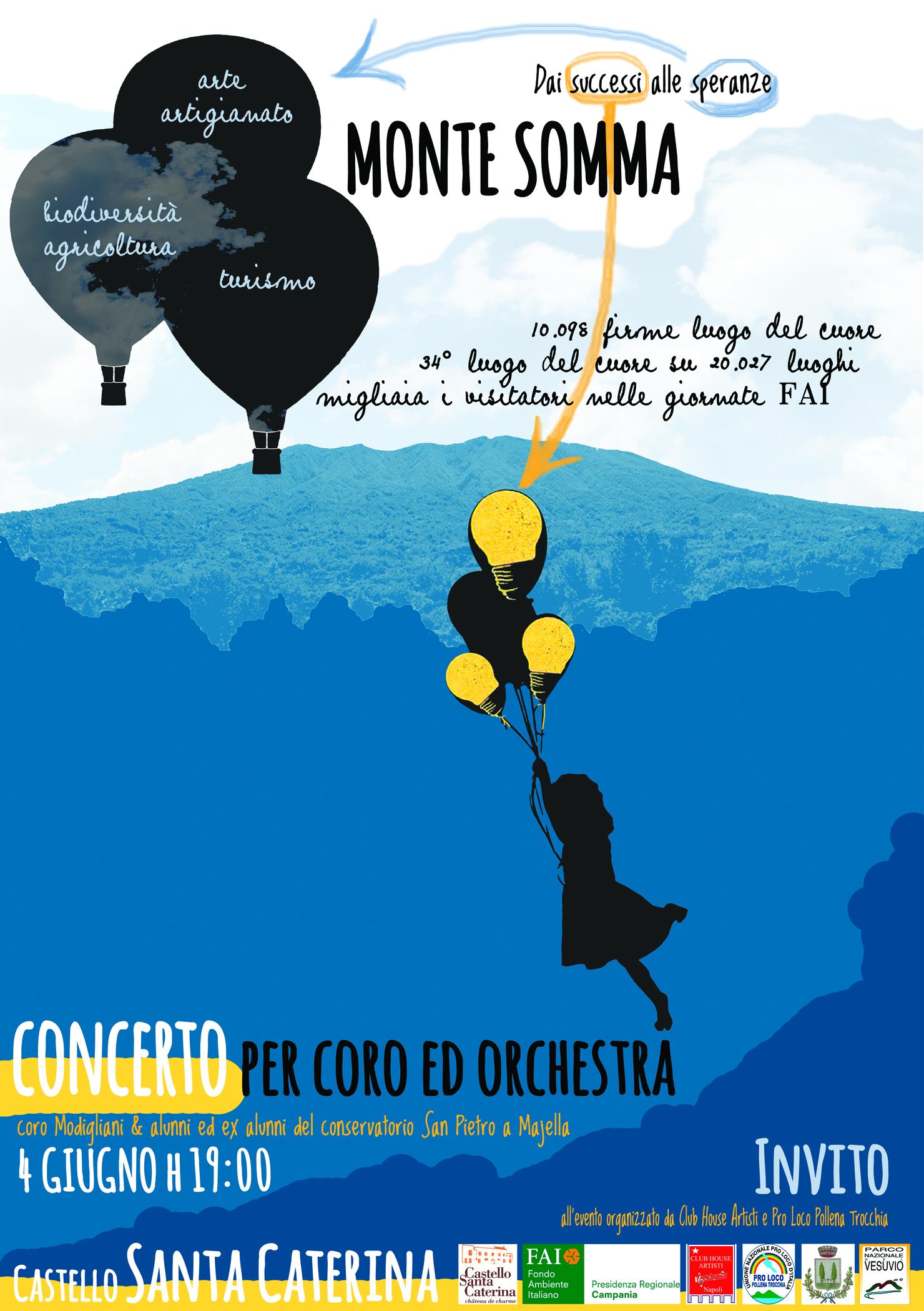 """""""Dai successi alle speranze"""", il 4 giugno al Castello Santa Caterina il concerto per coro ed orchestra, organizzato dal Club House artisti e dalla Pro Loco Pollena Trocchia"""