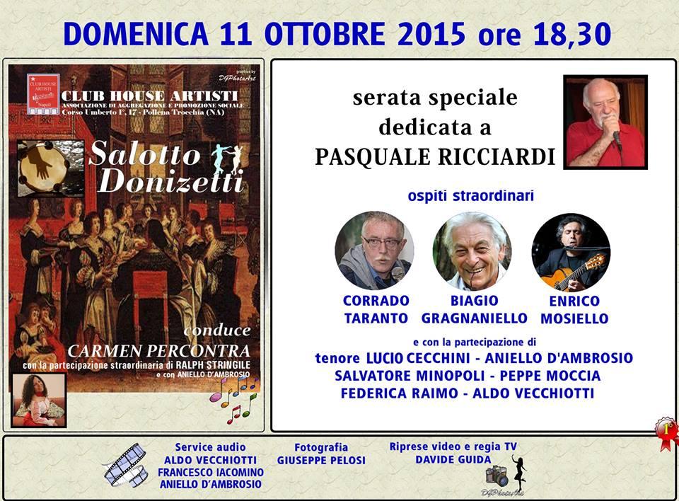 Riapre il salotto Donizetti del Club House Artisti, domenica 11 ottobre la serata dedicata a Pasquale Ricciardi