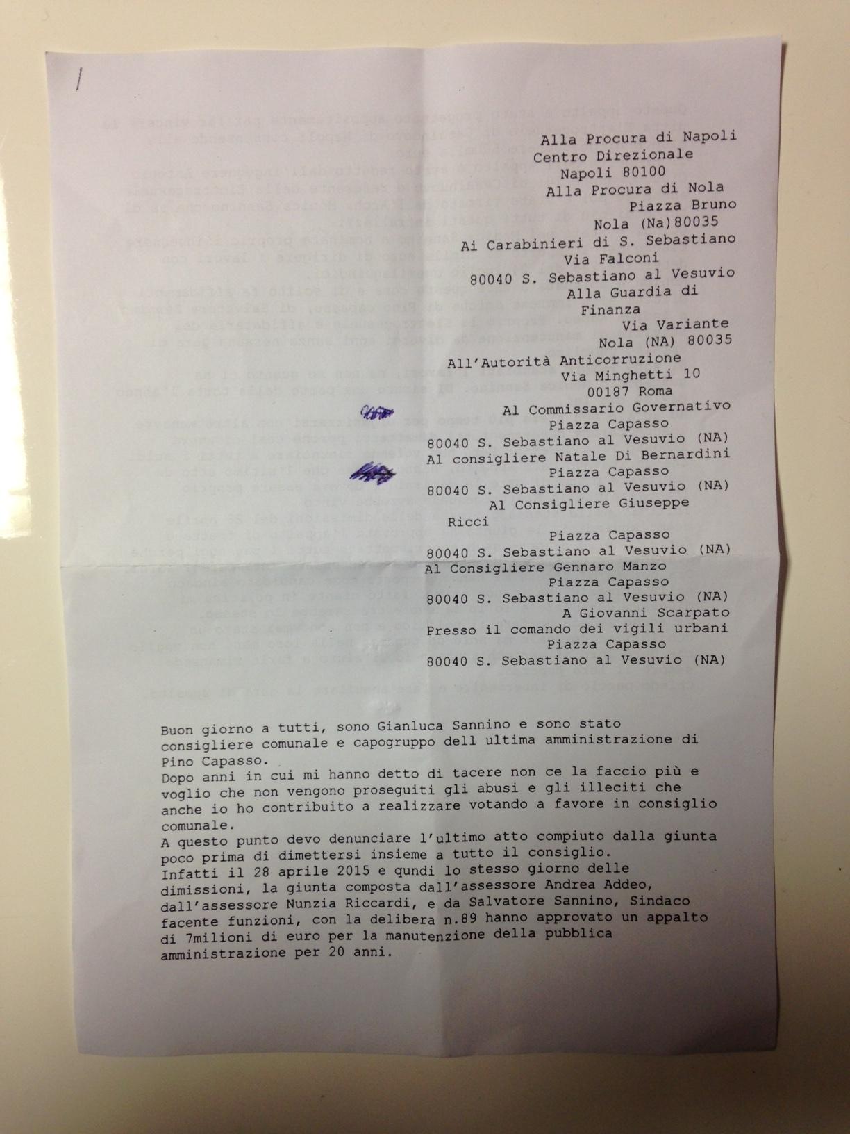 Lettera anonima a Procura e Carabinieri, il Commissario Santoriello sospende la gara per la pubblica illuminazione da 7 milioni di euro