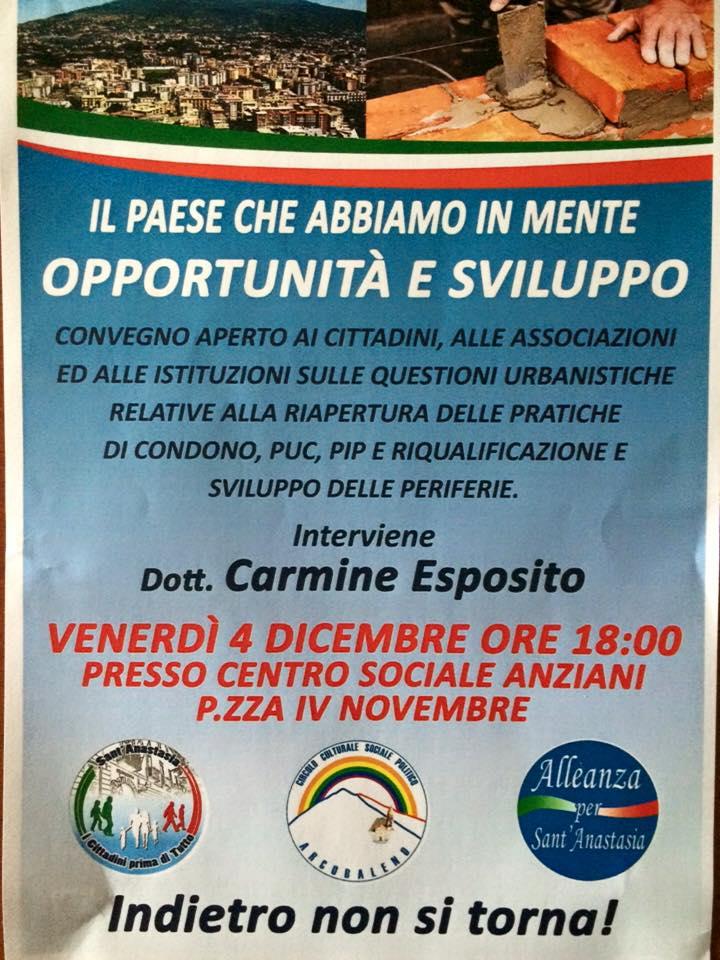 Sant'Anastasia, alle 18.00 di venerdì 4 dicembre convegno al centro sociale di Piazza IV Novembre. Interviene l'ex sindaco Esposito