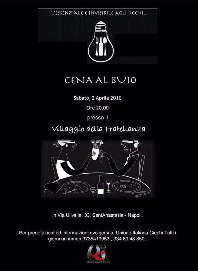 Sabato 2 aprile Cena al buio organizzata dall'Unione italiana ciechi a Sant'Anastasia