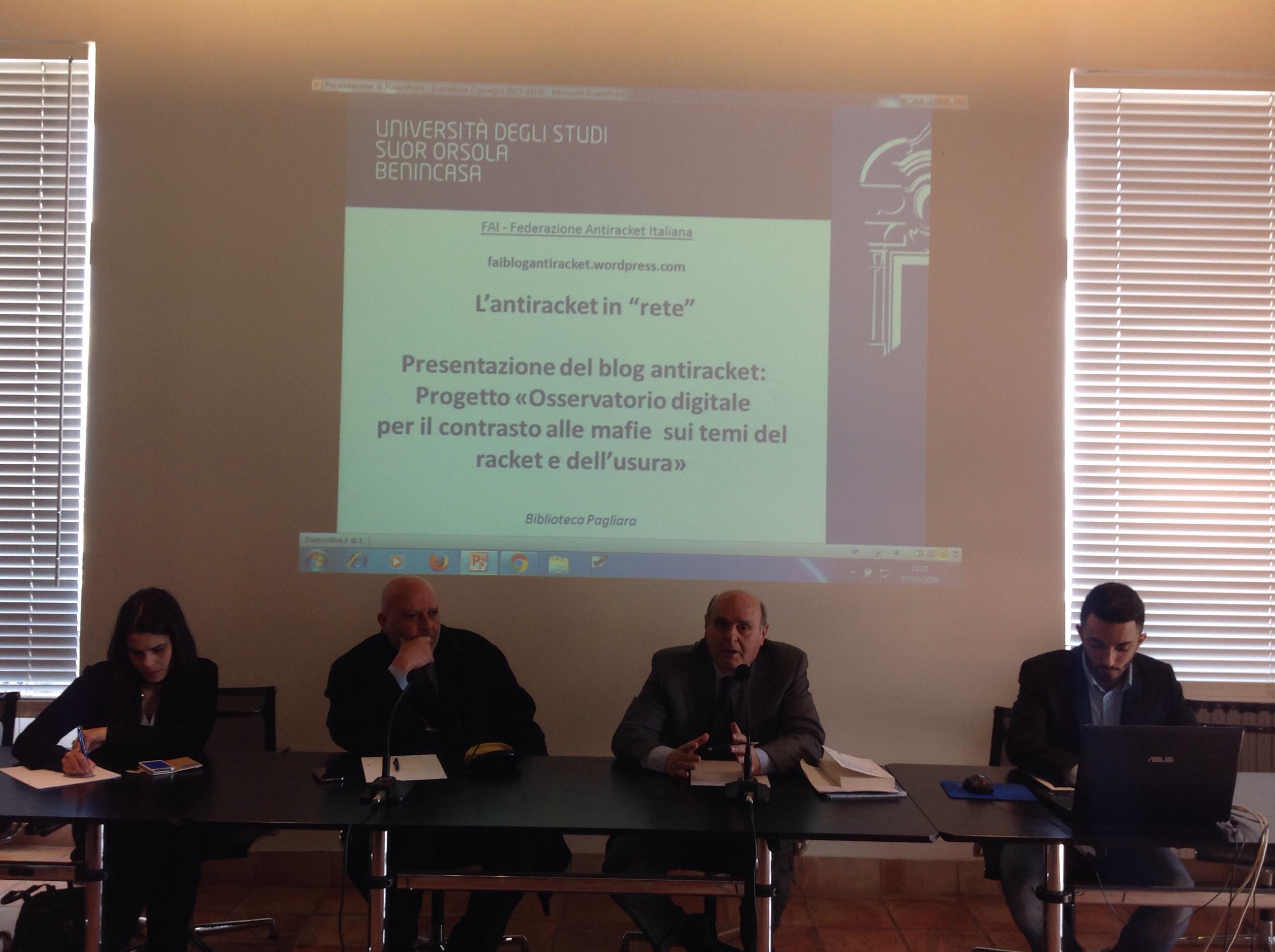Napoli. Al Suor Orsola Benincasa la presentazione del nuovo Blog Antiracket della FAI