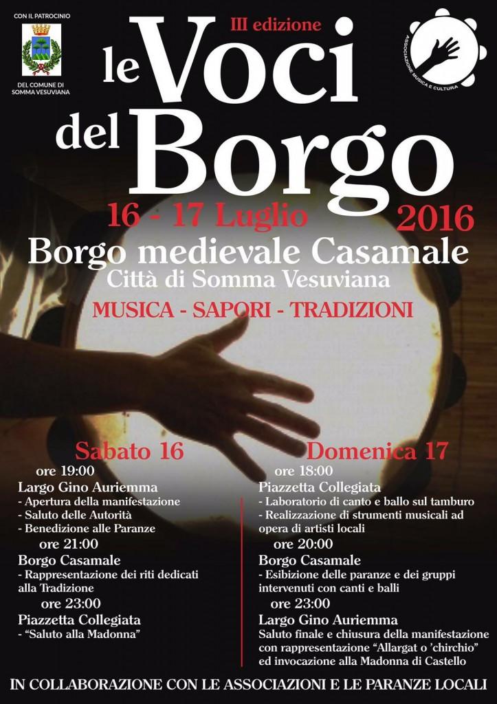 """""""Musica e Cultura"""", in collaborazione con le paranze e le associazioni del territorio, organizza la III edizione di """"Terra Murata Festival-Le Voci del Borgo"""""""
