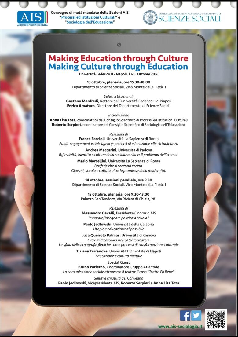 """13- 14 – 15 Ottobre Convegno di metà mandato delle Sezioni AIS: """"Processi ed Istituzioni Culturali"""" e """"Sociologia dell'Educazione"""""""