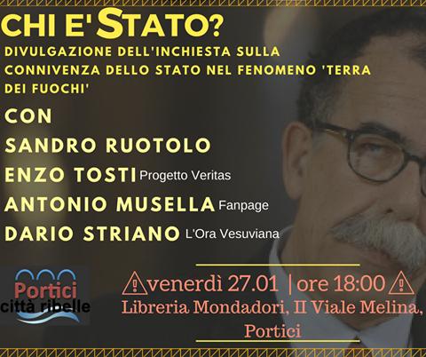 """Terra dei fuochi: """"Chi è Stato?"""" Sandro Ruotolo ospite del collettivo """"Portici Città Ribelle"""" presso la libreria Mondadori"""