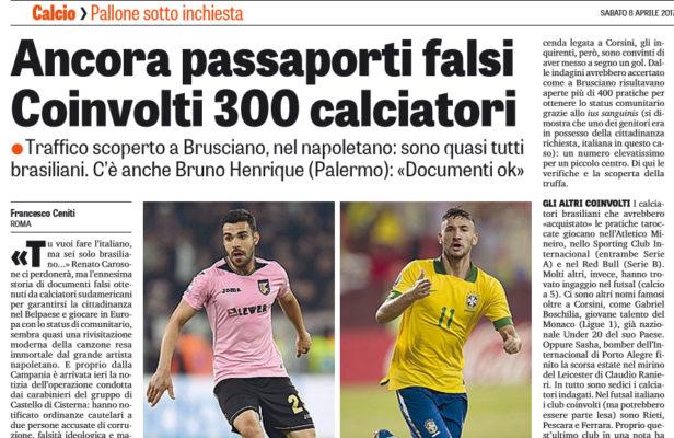 VESUVIO CARIOCA Scoperto giro di passaporti falsi per giocare a calcio  in Europa