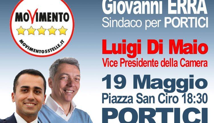 Portici verso il voto – A supportare la battaglia dei grillini, il vicepresidente della Camera Luigi Di Maio. il 19 Maggio la presentazione dei candidati