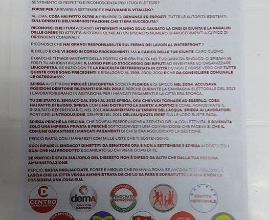 """Portici verso il voto – Manifesto duro contro il Senatore Cuomo ad opera della coalizione di Salvatore Iacomino: """"Non ti dimetti forse per arrivare a Settembre e per maturare il vitalizio?"""""""