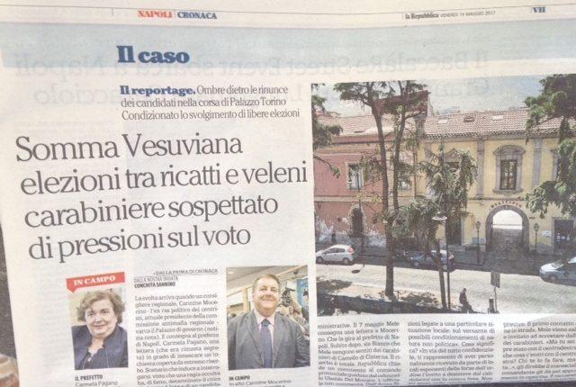 LO SCOOP DI REPUBBLICA A Somma Vesuviana anche esponenti delle forze dell'ordine sospettati di pressioni sul voto . L'articolo di COnchita Sannino