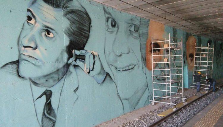 Street art nella stazione Circum: MassimoTroisi e Alighiero Noschese lungo i binari a San Giorgio a Cremano