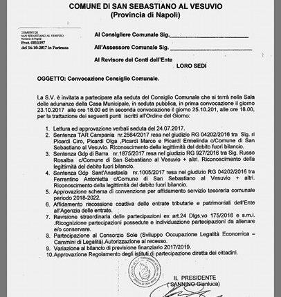 San Sebastiano – Ritorna il consiglio comunale il 23 ottobre. Ecco l'ordine del giorno