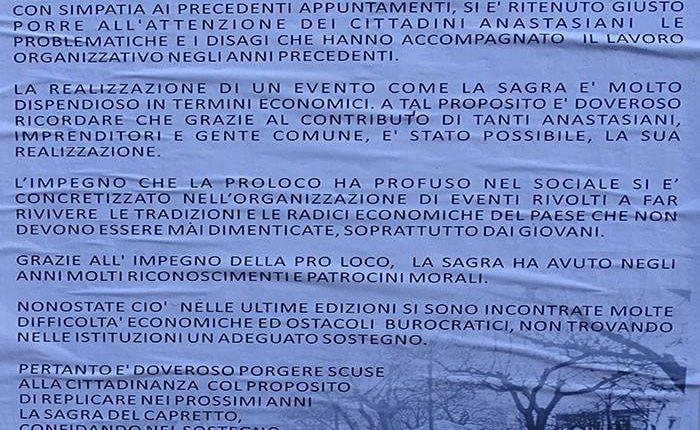 SALTA LA FESTA DEL CAPRETTO – La Pro Loco di Sant'Anastasia affida ad un manifesto i motivi dell'assenza