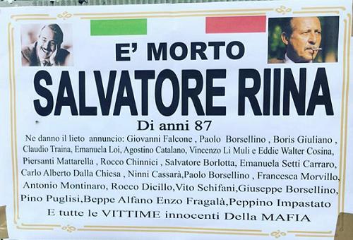Ercolano. E' morto Toto Riina, ne danno il lieto annuncio tutte le vittime di Cosa Nostra