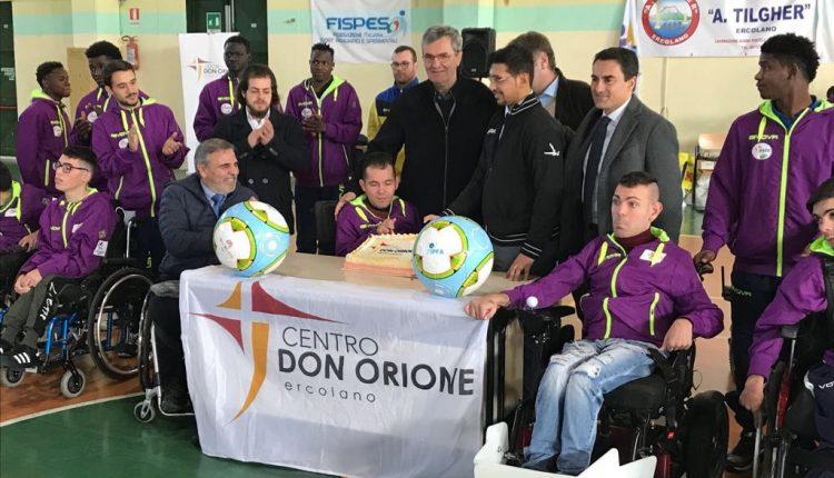 AL DON ORIONE – Battezzata ad Ercolano la prima squadra di Powerchair Football in Italia