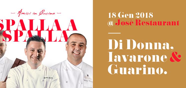 """Al Ristorante Jose' Restaurant di Torre del Greco gli chef Iavarone, Guarino e Di Donna """"Spalla a spalla"""":il 18 gennaioper celebrare la città del corallo"""