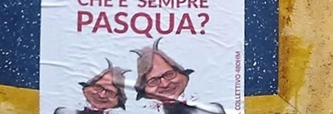 Vittorio Sgarbi atteso stasera a Pomigliano, sui manifesi diventa l'agnello sacrificale