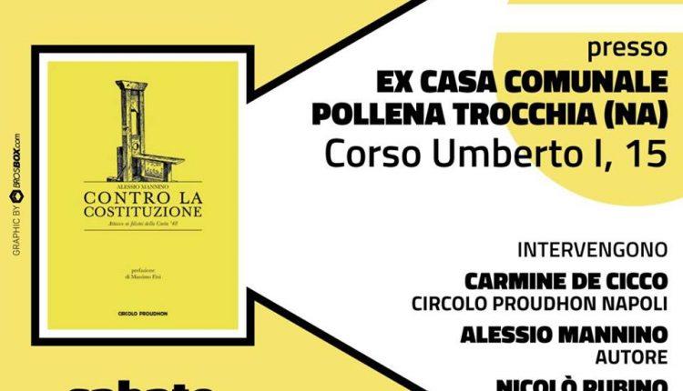 CONTRO LA COSTITUZIONE, OGGI  LA PRESENTAZIONE DEL LIBRO DI ALESSIO MANNINO,APPUNTAMENTO NELLA VECCHIA CASA COMUNALE DI POLLENA TROCCHIA