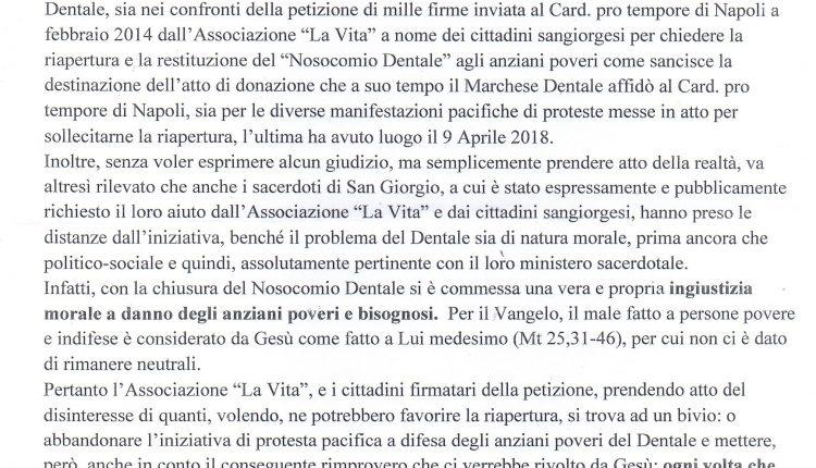 """Nosocomio Dentale – L'associazione """"La Vita"""" prova a riaccendere i riflettori sulla questione"""
