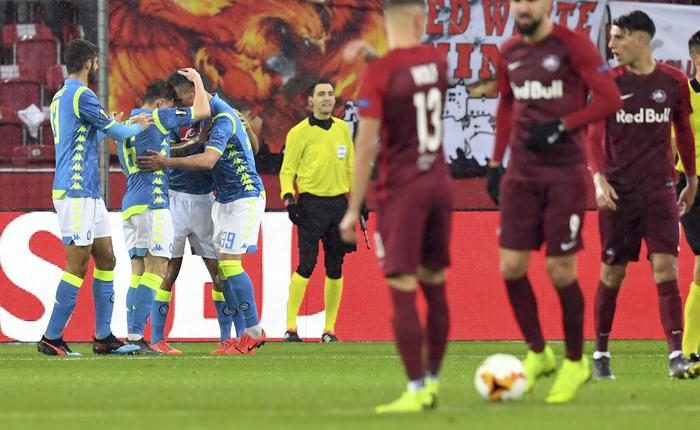 Europa League, Napoli ko: 3-1 a Salisburgo, ma è ai quarti: all'andata al San Paolo era finita 3-0
