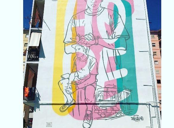 """E per sognare poi qualcosa arriverà! A Barra la """"speranza"""" è un murales con Angelo Perna, ragazzo di periferia oggi nel firmamento dei dj"""