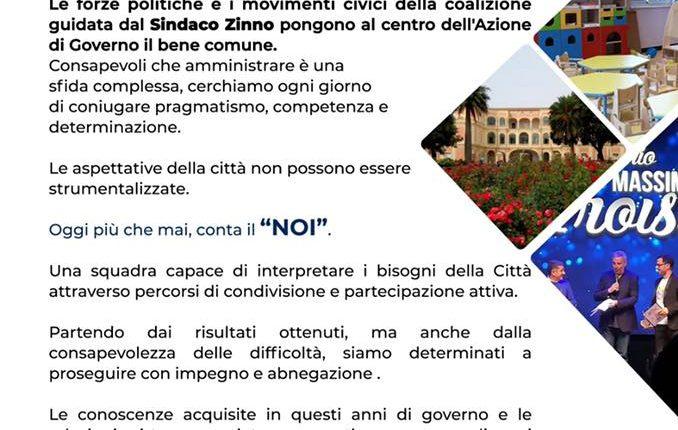 """VERSO IL VOTO A San Giorgio A CREMANO – Continuiamo a lavorare per la città,Il manifesto della coalizione che sostiene Zinno:""""Acta, non verba"""""""