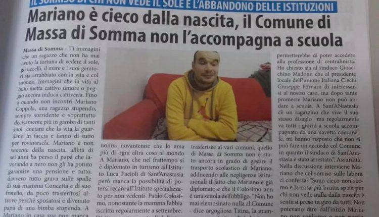 LA STORIA DI MARIANO – Il primo cittadino di Massa di Somma assicura la famiglia: Mariano da lunedì andrà regolarmente a scuola