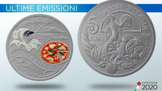 La Zecca dello Stato onora la pizza con una moneta da 5 euro che raffigura la Margherita e Pulcinella