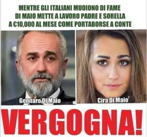 L'ennesima bufala sul web: Gennaro e Cira Di Maio non esistono, si tratta di un fotomontaggio per screditare il Ministro