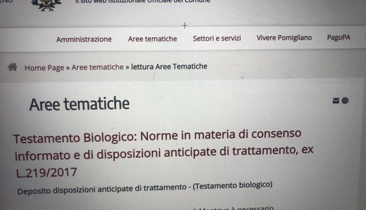 """Testamento biologico, sul sito del Comune Pomigliano d'Arco diventa Mantova. Non riesce il goffo """"copia e incolla"""" su un tema così importante: la denuncia di un lettore"""