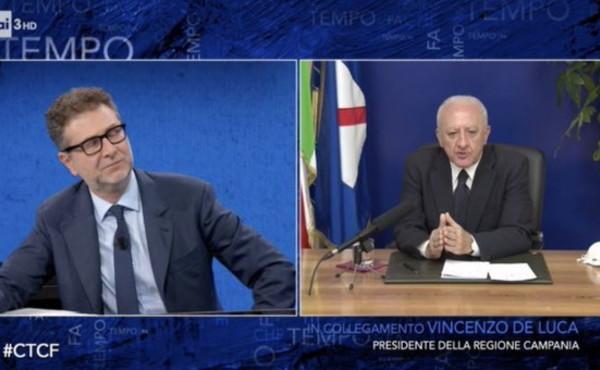 """A """"Che tempo che fa"""" – Il Governatore De Luca: """"Il Paese è stremato ma servono controlli perché rischiamo l'estate"""""""