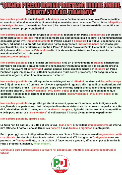Pomigliano d'Arco – La risposta del Pd alla chiusura del parco Green