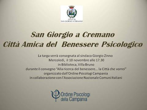 """San Giorgio a Cremano scelta come """"Città Amica del Benessere Psicologico""""."""