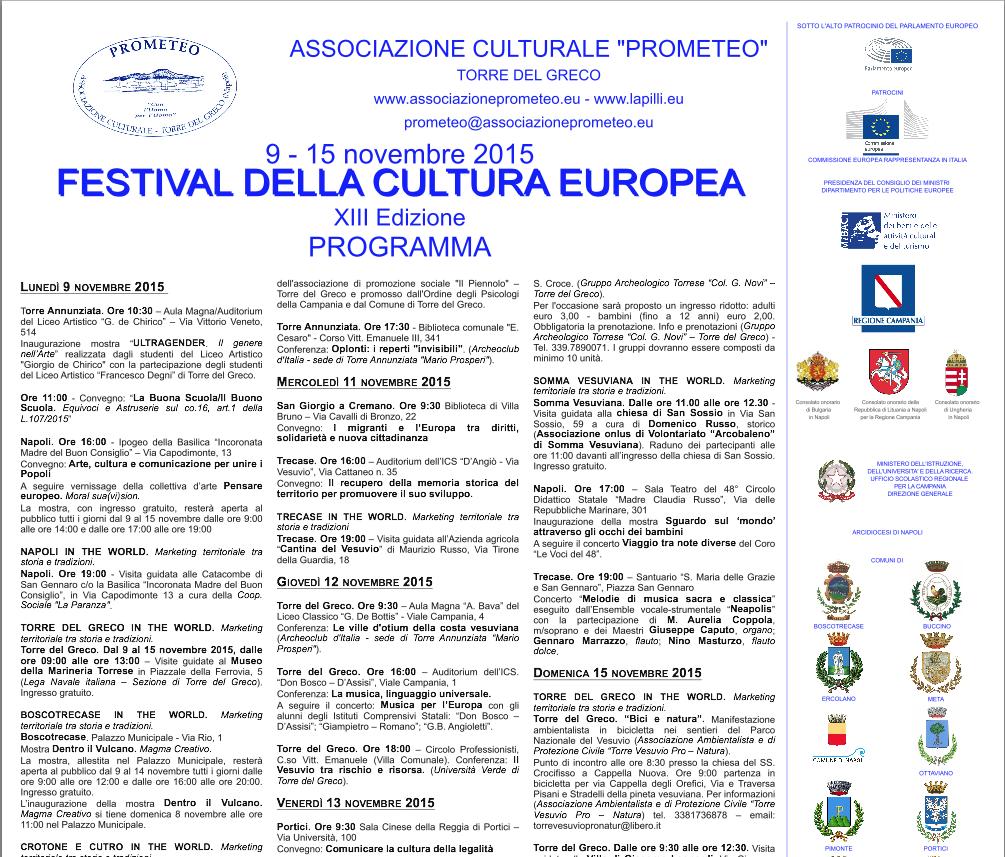 Prende il via la tredicesima edizione del Festival della cultura europea. Tappe a Napoli e nel Vesuviano