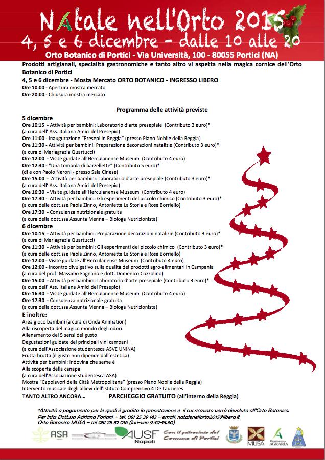 """Tradizione e Cultura nella Reggia di Portici. Ecco il nuovo appuntamento di """"Natale nell'Orto 2015"""""""