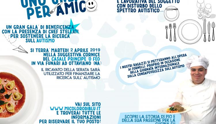 """UNO CHEF PER AMICO – A Ottaviano, chef e ragazzi autistici insieme ai fornelli: il 2 aprile una cena di beneficenza targata """"mi coloro di blu"""""""
